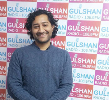On Gulshan Radio speaking about work in domestic abuse campaigns.